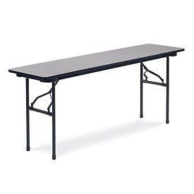 "Virco® 601872 Traditional Folding Table 18""X72"", Black With Gray Top by VIRCO INC. $117.95. Virco 601872 Traditional Folding Table This 6000 Series folding table features a 3/4"" particleboard core with a fused-on melamine top in an attractive Gray finish. The 72""L x 18""W top is strengthened by a steel support paron. Unlike other table aprons with sharp steel edges, this apron's patented rolled Safe Edge helps hands and fingers avoid cuts and scratches. When the table is not in..."