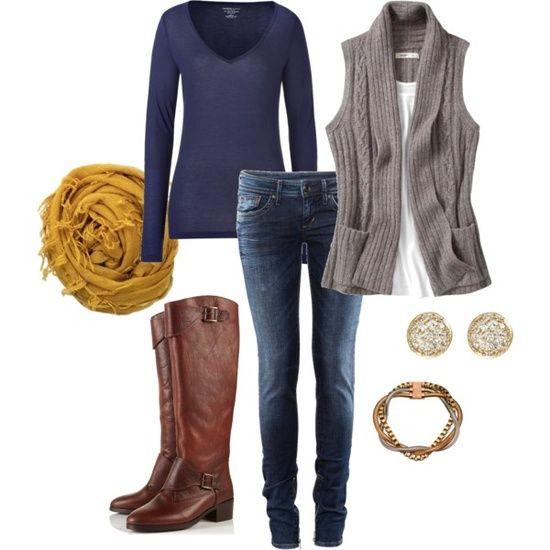 Outfit azul,café y gris, casual ❗