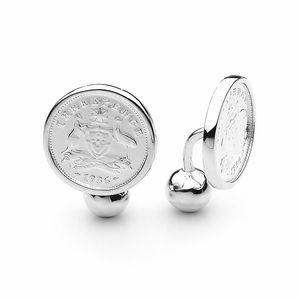 HC-TC-S Shield  Design Australian Threepence Coin Sterling Silver Cufflinks by Cotton & Co.jpg