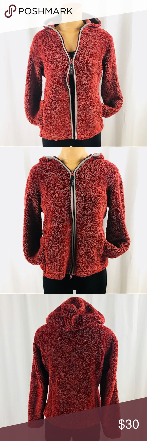 Athleta Fuzzy Bear Jacket Condition-Great  -Some paint chipped on zipper pull -2 way zipper pull -2 pockets and hood Made in the USA Athleta Jackets & Coats