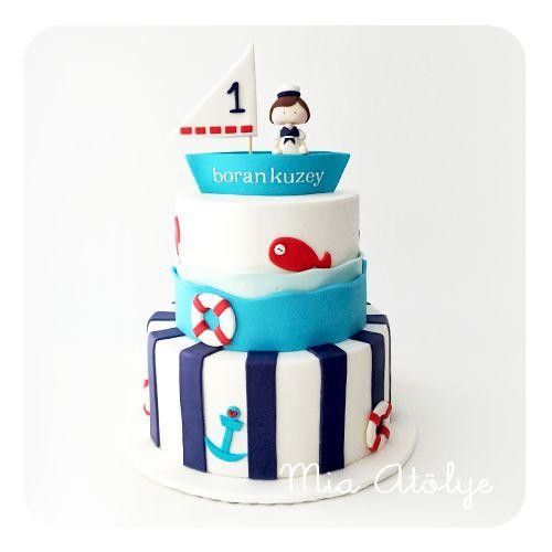 Denizci temalı 1 yaş pastası