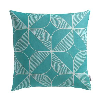 Rosette in Teal Cushion Cushion + Pad by Sian Elin