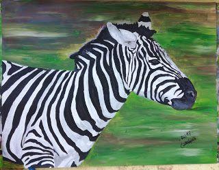 swikart: peinture animaliere zebre par G.vanspey 50x65