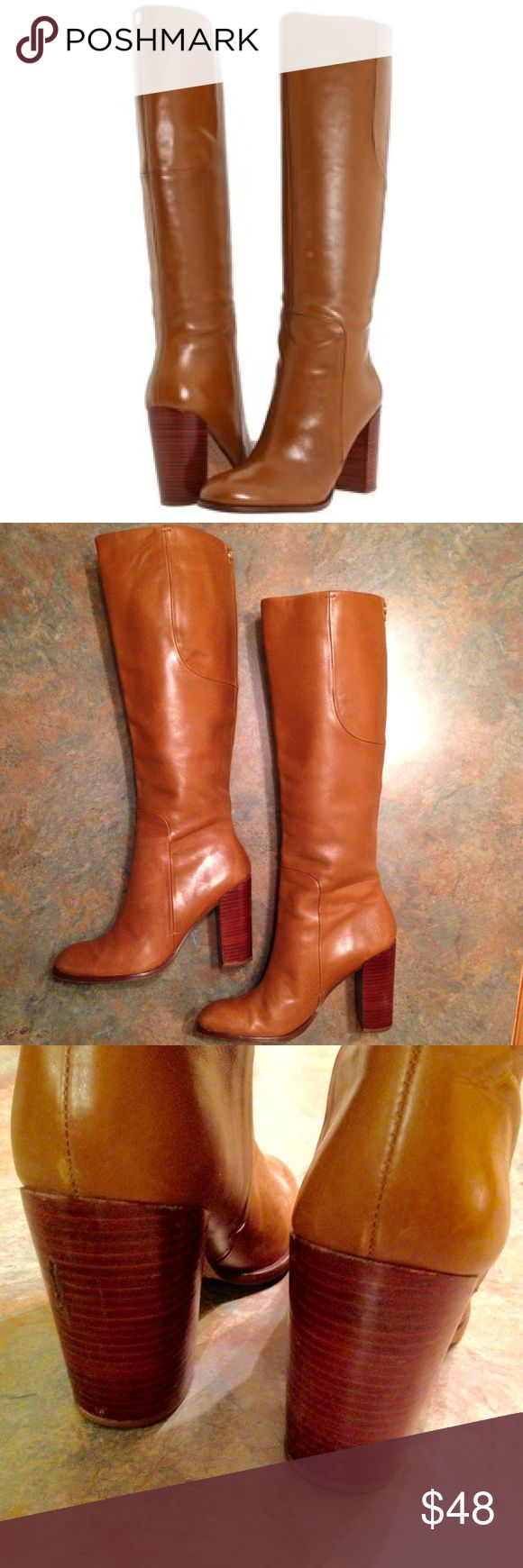 """Ivanka Trump Kamila Knee High Boots Ivanka Trump Kamila Knee High Boots. Size 7. Straight shaft leather riding boot in beautiful camel with 18"""" shaft measured from arch, 3.5"""" stacked heel, and 14.5"""" boot opening. In excellent condition. Note flaw on heel of left boot...I used shoe polish to match the flaw to the heel color. Ivanka Trump Shoes Heeled Boots"""