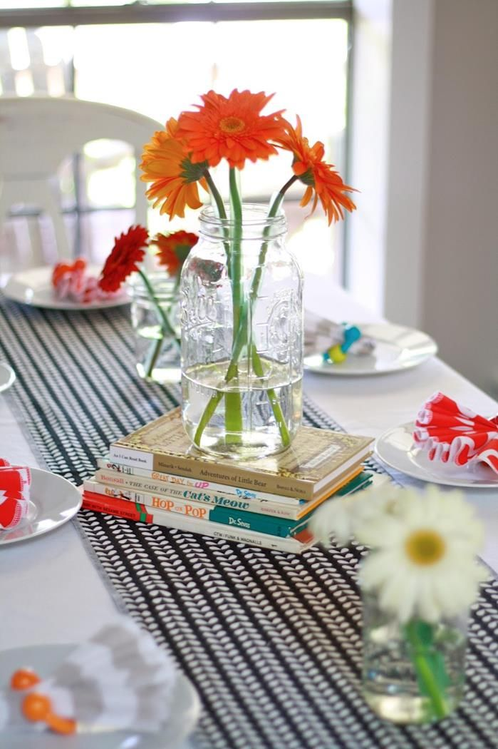 Colorful book-themed baby shower brunch. SUPER LOVE this simplistic, colorful elegance.