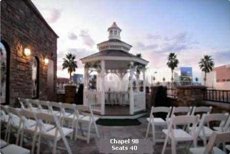 $299 for up to 20 guests This venue is a second story balcony with a gazebo.  It has the same authentic stained glass windows and towering white steeple. The terrace features a face of neutral Chablis Stone and Earth-Tone roof tiles.  Because of its second story location, this chapel offers a great sunset view.