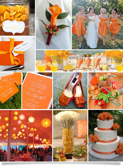 Boda de color Naranja, Vestidos de Damas 2013 de color naranja. Zapatos naranjas.