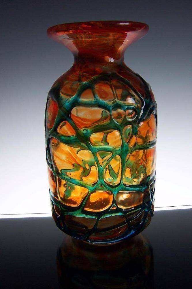 Large Art Glass Michael Harris Mdina Vase Orange Blue Overlay Trails