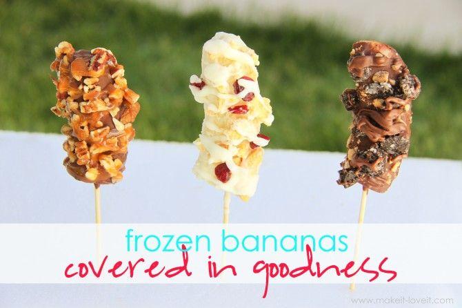 Frozen BananasBananas Desserts, Food Sweets, Chocolates Covers, Bananas Covers, Covers Frozen, Bananas Recipe, Healthy Yummy, Bananas Treats, Frozen Bananas