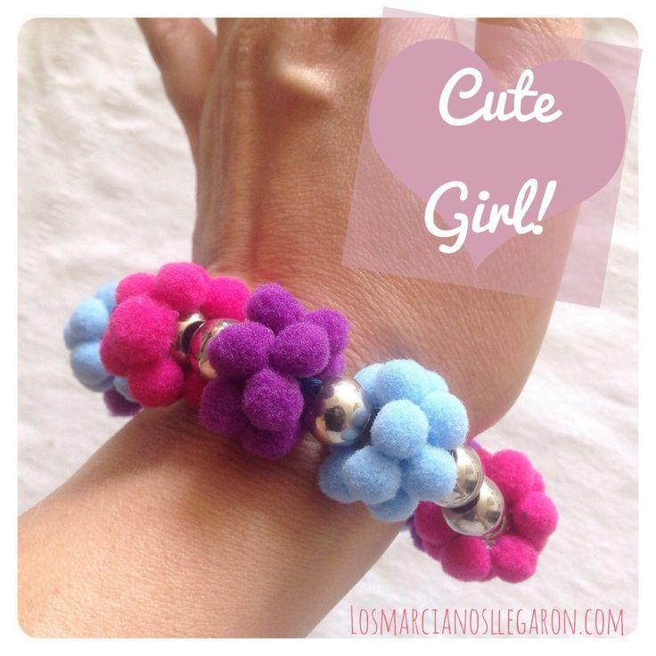 Accesorios para niñas: Pulsera Pomposa #DIY #Bisuteria #Jewelry