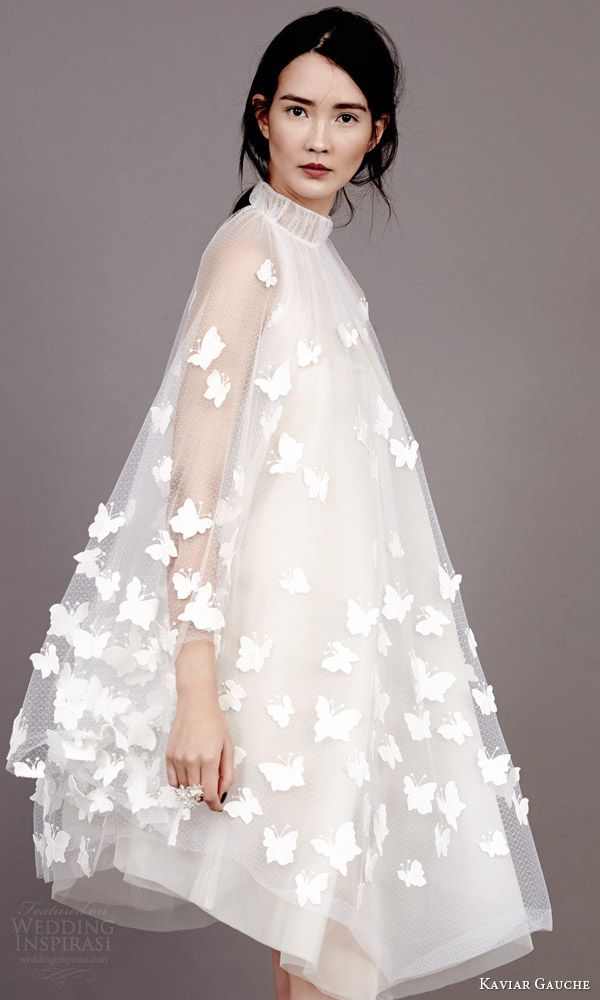 kaviar gauche couture bridal 2015 swinging papillon wedding dress cape high neck