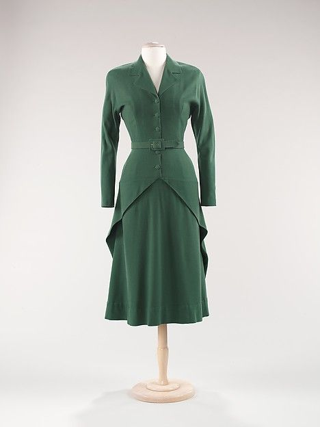 Dress, Designer: Attributed to House of Balenciaga (French, founded 1937) Designer: Attributed to Cristobal Balenciaga (Spanish, Guetaria, San Sebastian 1895–1972 Javea) Date: ca. 1947 Culture: French Medium: wool