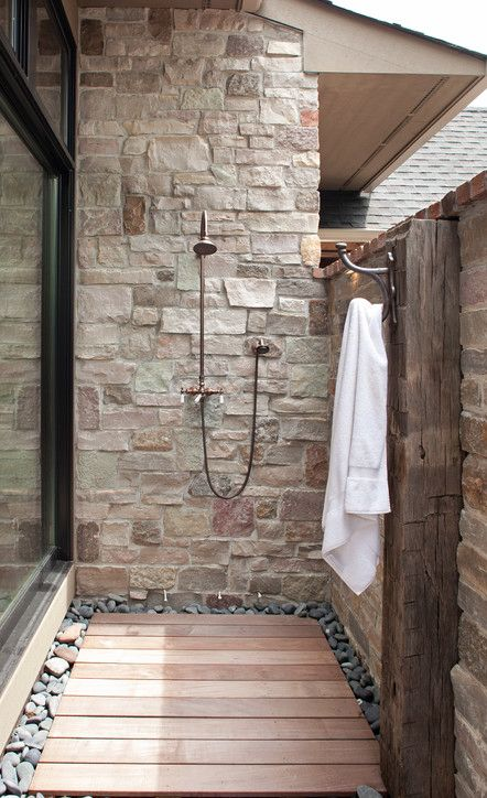 "A great outdoor shower extension design with ""Ipe"" Brazilian hardwood shower floor!"