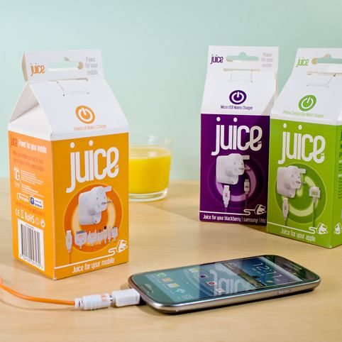 Juice brings stylised colour and innovation to, what were once, plain white chargers. The range includes Apple, micro USB and universal chargers that come in eye-catching Apple, Orange and BlackBerry juice cartons.