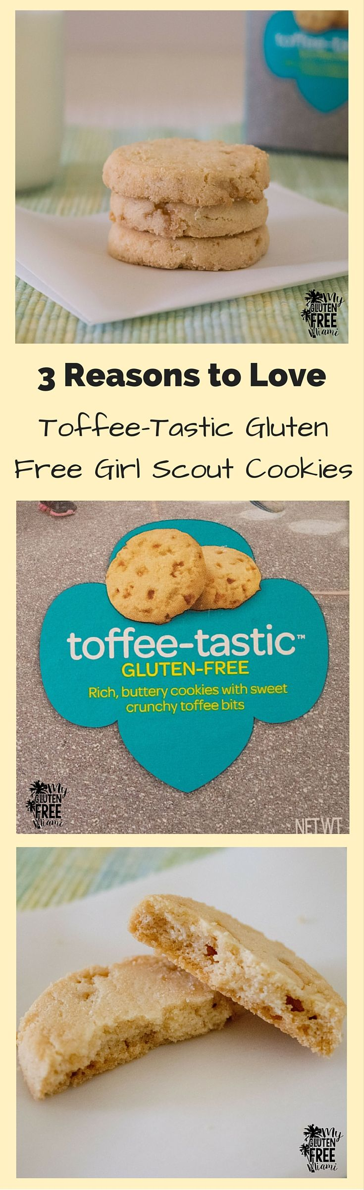 A review of the yummy Toffee-Tastic Gluten Free Girl Scout Cookies. These can be hard to find, but they are worth it! Read our review and then talk to your local Girl Scout troop to see if they have them :)