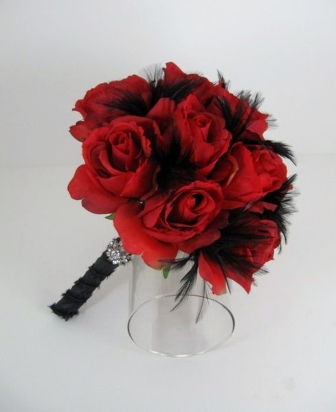 red and black shemstadBlack Bouquets, Bm Bouquets, Flower Bouquets, Red Bouquets, Red Rose, Bouquets Wedding, Bridesmaid Bouquets, Black Feathers, Red Black