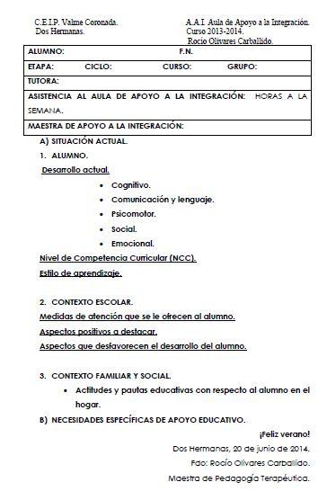 ROCIO OLIVARES EL AULA DE PT MODELO DE INFORME FINAL Formatos - formato de informe escrito