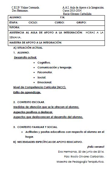 ROCIO OLIVARES. EL AULA DE PT.: MODELO DE INFORME FINAL.