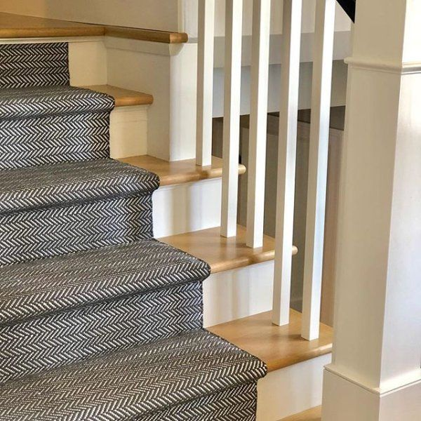 Herringbone Shale White Indoor Outdoor Rug Dash Albert Stair | Indoor Outdoor Carpet For Stairs | Slip Resistant Rubber Backing | Interior | Electric Blue | Stair Residential | Diamond Pattern
