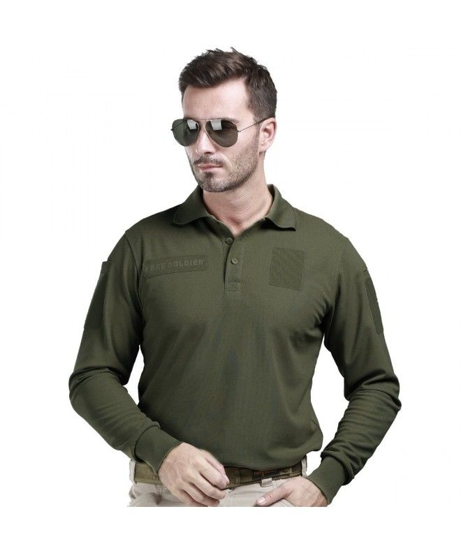 d42b825aa548 Men s Long Sleeve Polo Shirt Breathable Coolmax Tactical Polo - Army green  - C711AAKQM7P