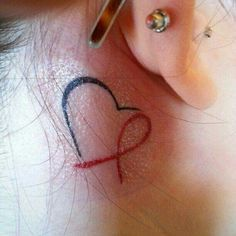smallest cancer ribbon tattoo behind ear - Google Search