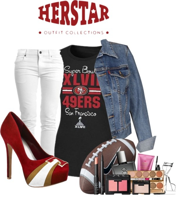 """""""HERSTAR San Francisco 49ers Game Day Outfit"""" by missmelika on Polyvore"""