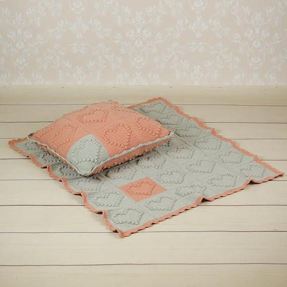 Hand made crochet baby blanket and pillow; blanket for the stroller; baby shower gift; blanket and pillow; pillow baby ; art blanket