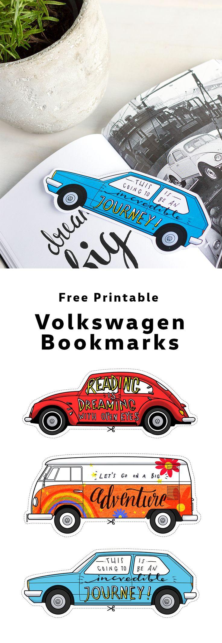 DIY for booklovers: Download this free printable to make Volkswagen Golf, Beetle or Campervan bookmarks.