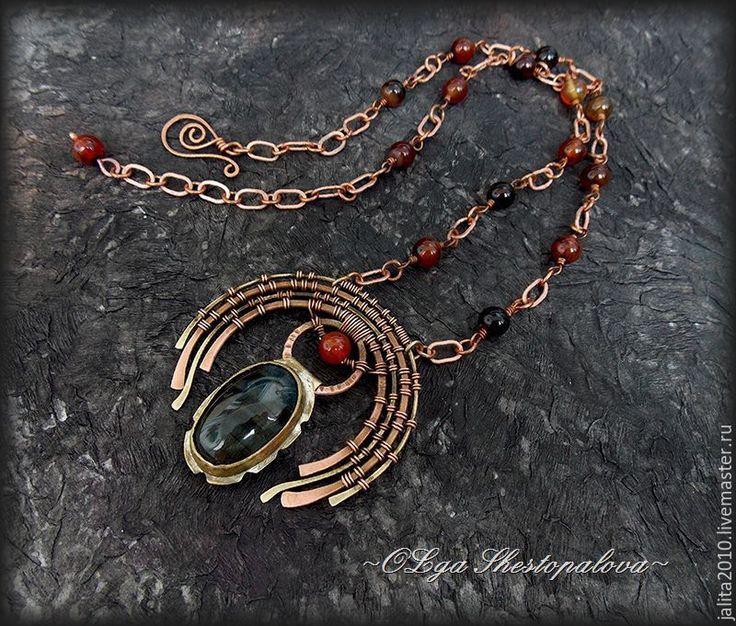 """Купить """"Легенды прерий"""" медно-латунное украшение с соколиным глазом - комбинированный, эпос, этно стиль"""