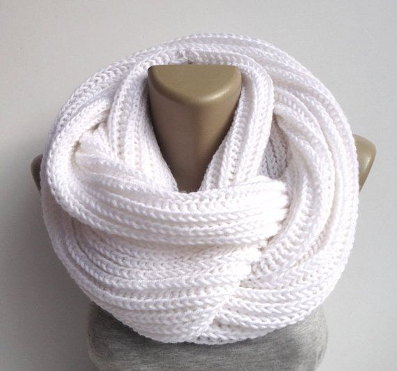 unisex white infinity scarf - neckwarmer - cowl - knitted scarf - knit - wool acrylic Alize yarn , wholesale scarves on Etsy, $35.00