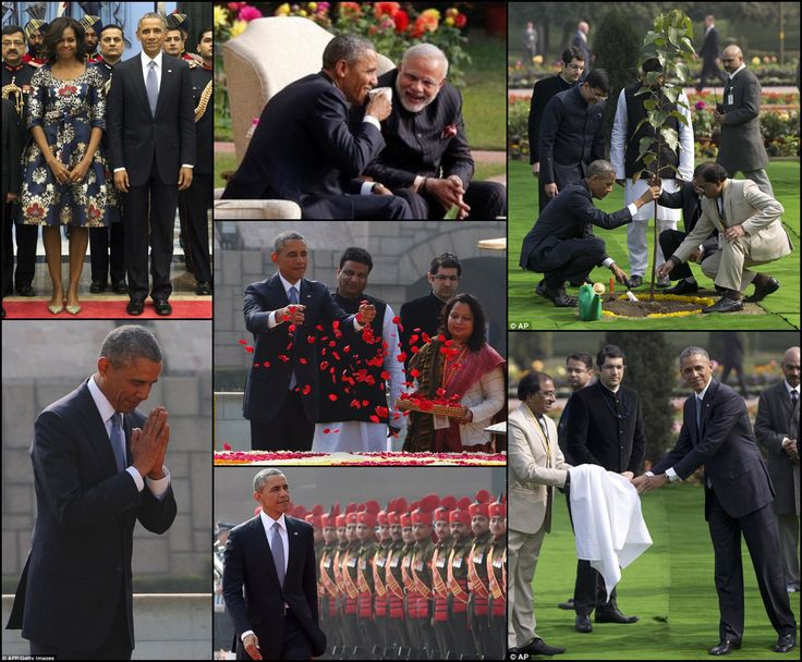 #HISTORY #44thPresident #BarackObama #FirstLady #MichelleObama January 2015 President Obama is the #FIRST American to visit #India twice during his #administration #Payingrespects The President gestures a #traditional #greeting at the #memorial during the first full day of his three-day state visit to India #Honored President Barack Obama throws rose petals as he pays his respects at Raj Ghat, the memorial for India's independence icon Mahatma Gandhi, in #NewDelhi #India