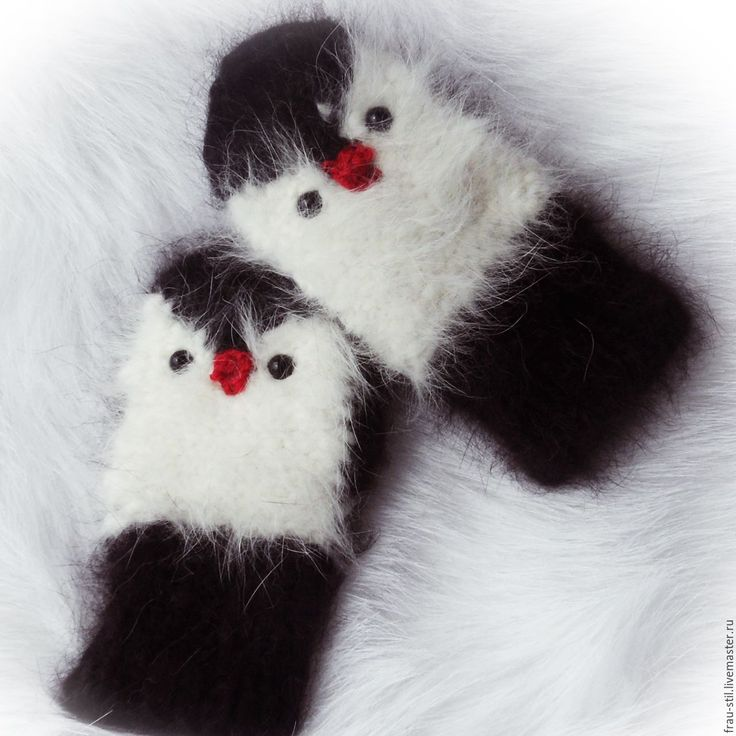 Купить Варежки вязаные детские варежки пуховые варежки Frau Stil Handschuhe - чёрно-белый