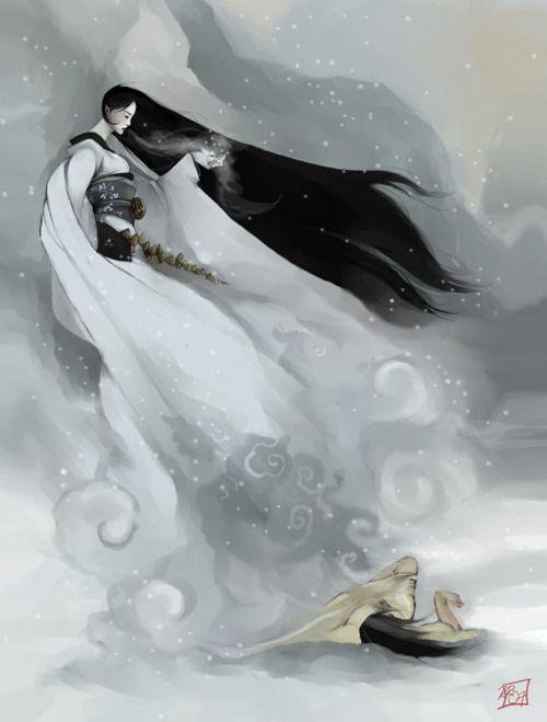 The Yuki Onna by YoshiyukiKatanaJapan, Animal Art, Yoshiyuki Katana, Beautiful Women, Yoshiyukikatana, Digital Painting, Yuki Onna, Fairies Tales, Yukionna