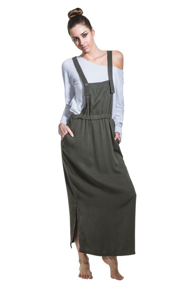 Long Bib Overall Dress - Green Maxi Loose Pinafore With T-Shirt
