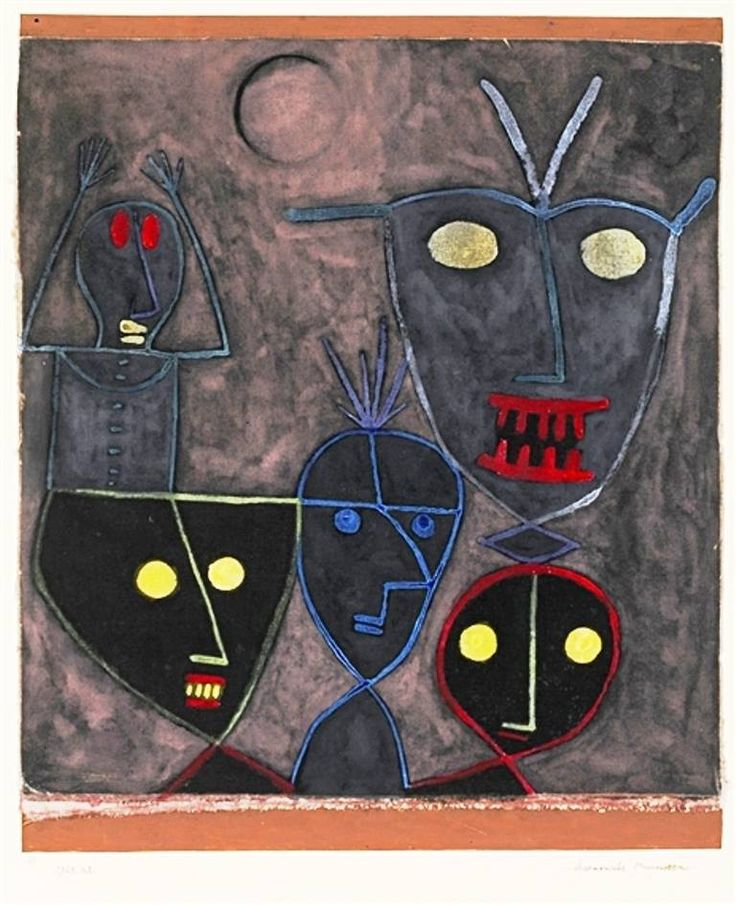 Paul Klee - Demonic Puppets, 1929. Gouache and pen on linen laid down on card, 14.5 X 9.88 in. (36.83 X 25.08 cm). Private Collection