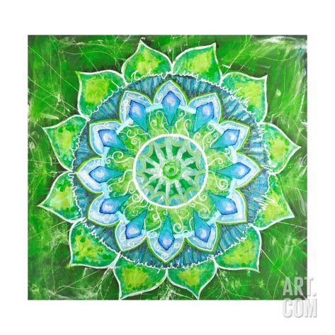 Art.fr - Reproduction d'art 'Abstract Green Painted Picture with Circle Pattern, Mandala of Anahata Chakra' par shooarts