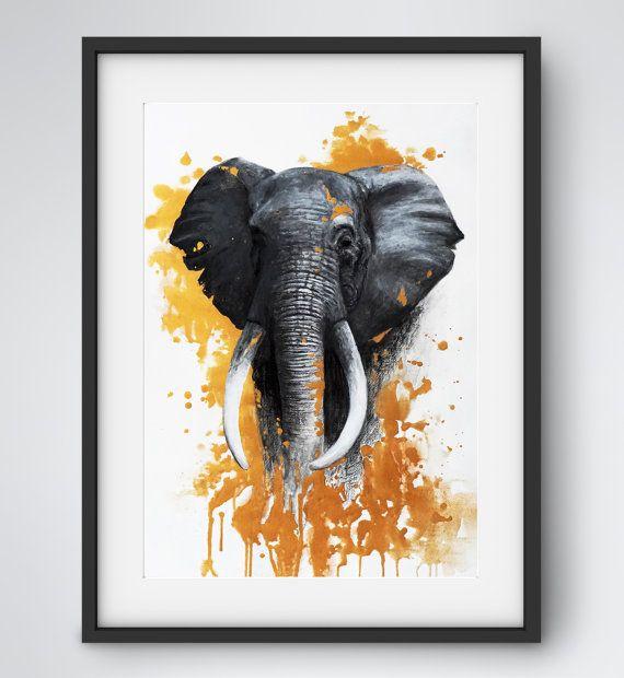 Original Mixed Media Tier Portrait, Elefant mit Abstrakten Gold Elementen      MATERIAL: Acrylfarbe, Aquarell Bleistift, Pastellkreide, säurefreies und alterungsbeständiges Papier (ohne Rahmen)  GRÖßE: 20x 28 (50x 70cm)  VERPACKUNG: eingerollt in einer stabilen Versandrolle  FARBEN: verschiedene Grautöne, Gold, Weiß    Unterschrift und Datum befindet sich auf der Rückseite      Aus Sicherheitsgründen wird das Bild eingerollt in einer stabilen Versandrolle verschickt. Nach Zahlungseingang…