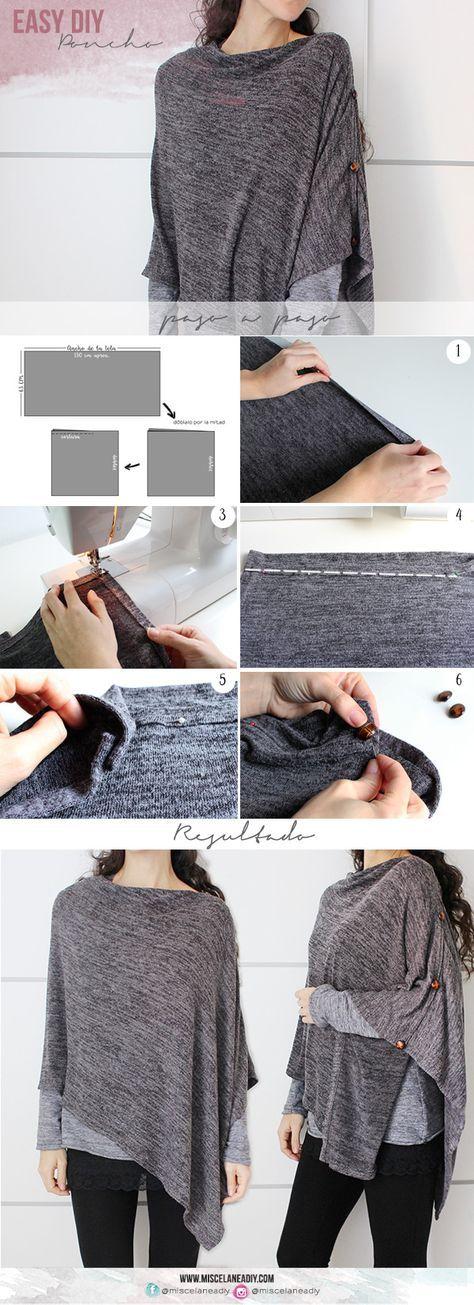 DIY Sewing   Cómo hacer un poncho, muy fácil.