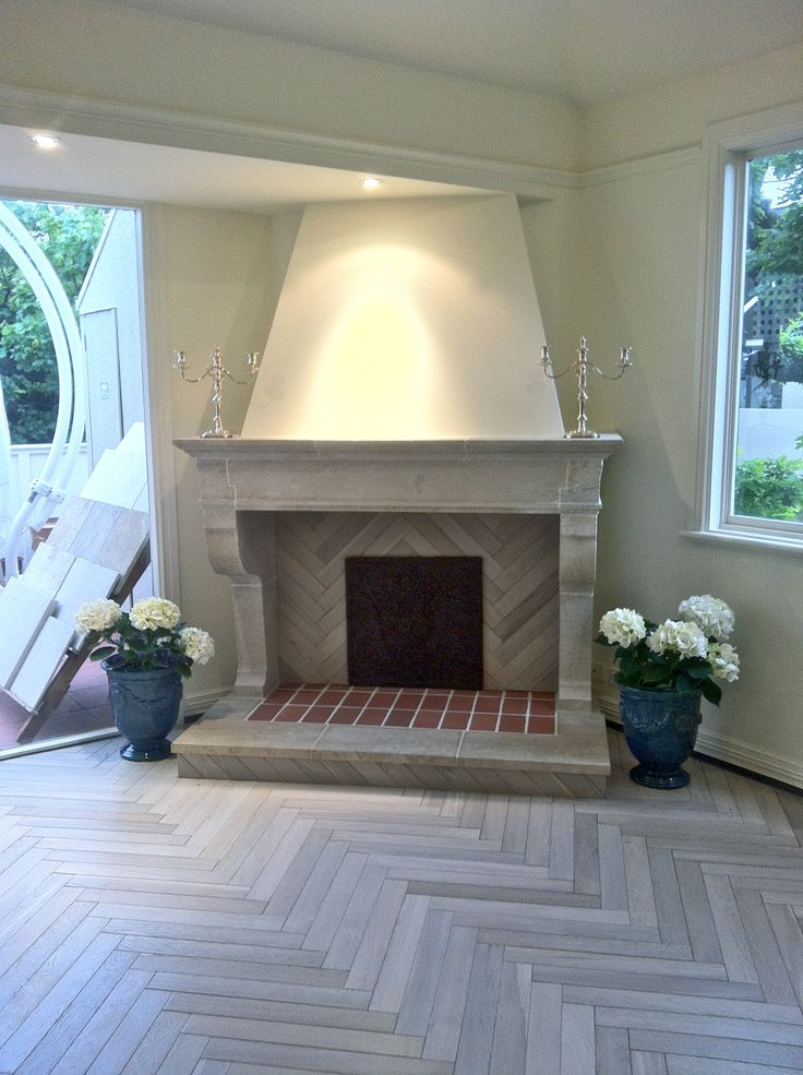 French stone fireplace