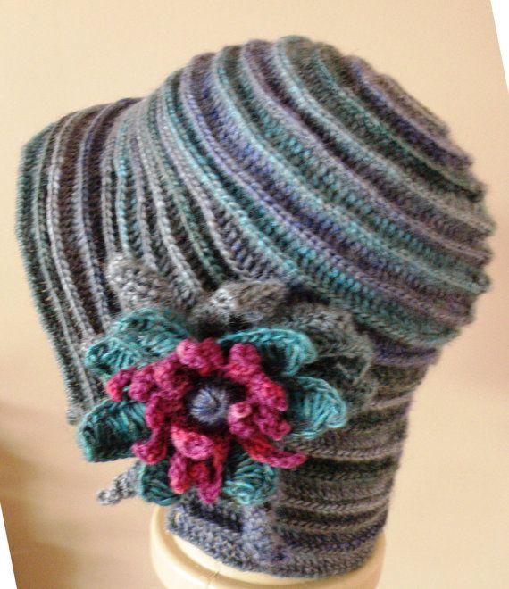 Crochet ridged cloche hat with flower by Rositza on Etsy