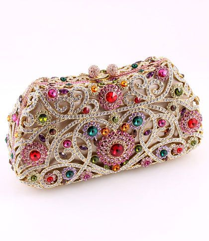 High End Quality Hardware Frame Full Austrian Rhinestone Evening Bag
