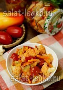 рецепт цветной капусты с овощами на зиму
