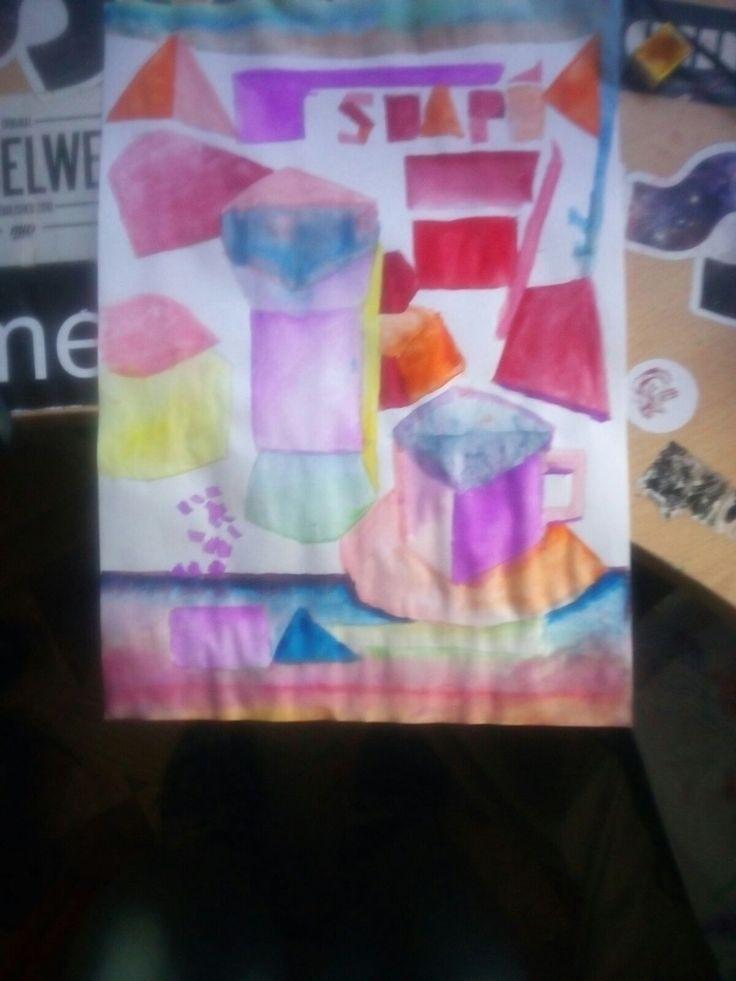 Esta vez es diferente, ya que he usado una paleta de colores policromáticos, aunque intenté predominar la paleta con colores fríos, para contrastar la imagen real. El material y el boceto esta creado con los mismo materiales empleados y nombrados anteriormente en las anteriores fotos.