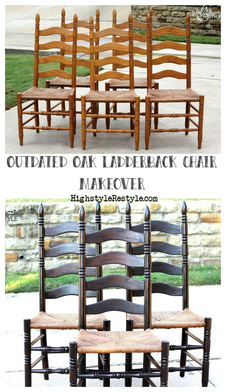 These golden oak chairs were in serious need of an update.  One of my  missions as a furniture refinisher is saving outdated oak pieces.  They are  so well-made and these days almost impossible to find such quality  furniture.  So, please don't throw out your outdated oak...just UPDATE it!  Some of my favorite projects updated golden oak are the Restoration  Hardware-inspired pedestal table and the Industrial Apothecary Cart.   Originally, my client wanted them stained (not painted) black…