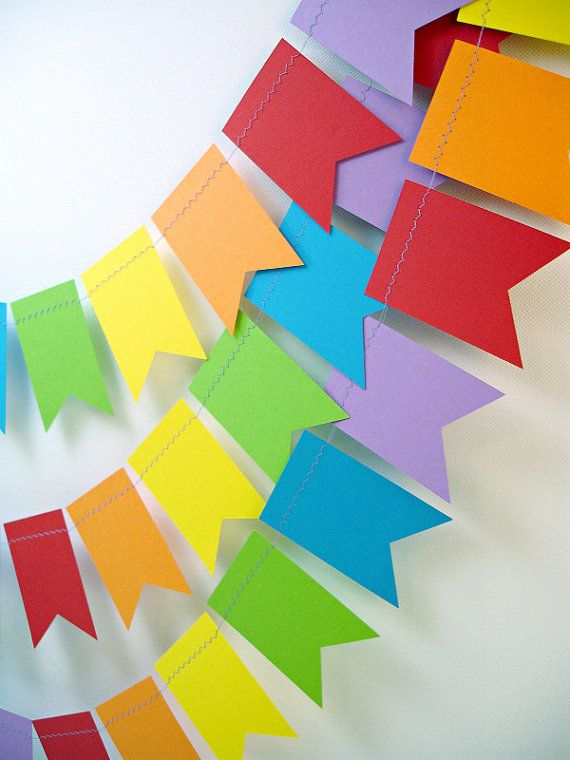 Rainbows Petite Flags 12ft. Garland  ///////  Rainbow Birthday Party Decor // Rainbow Nursery Decor // Rainbow Garland // Kids Party // via Etsy