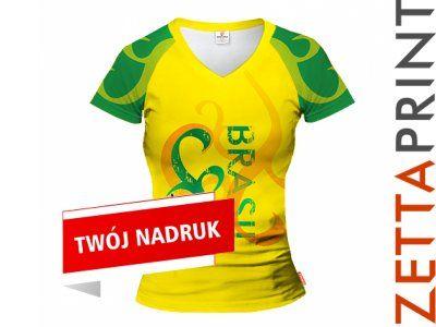 BRAZYLIA Damska Koszulka T-Shirt Nadruk ZTT_DS1778