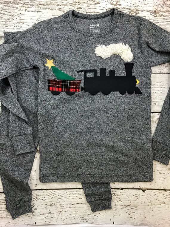 New lil threadz design posted! Train pajama Christmas train polar Christmas Pajamas Holiday Pajamas Christmas pj for boy Boys Christmas present pajama steam train by lilthreadzclothing