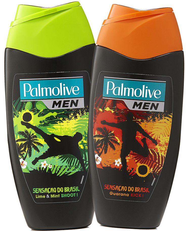 PALMOLIVE MEN Brasil-suihkusaippuat 250 ml Guarana Kick tai Lime & Mint.