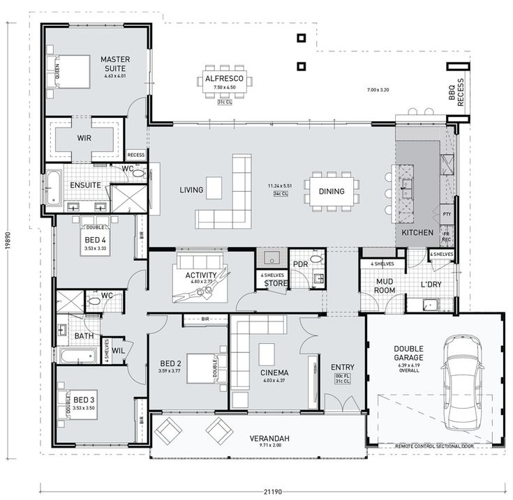 Floor Plan Friday: Farmhouse design with living on the rear