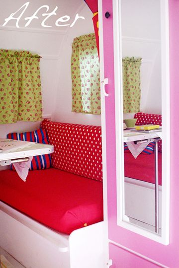 1964 Vintage Caravan Makeover --- The 'after' photo! I like the red & white polka dots on the bench seat but I hate those sad puke-green curtains! (View #4)